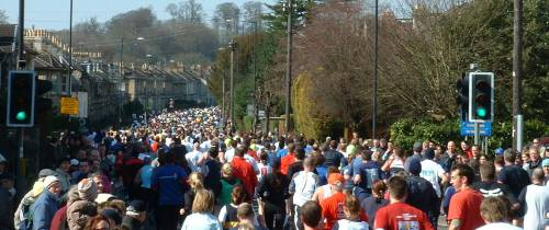 Bath Half Marathon Runners in 2006 on NewBridge Road